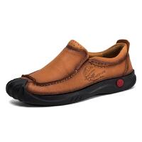 夏季时尚休闲户外运动男鞋男士真皮鞋舒适一脚套鞋懒人鞋