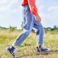【2件7折到手价:191】小猪班纳童装女童浅蓝牛仔裤春季新款中大童长裤宽松百搭时尚裤子