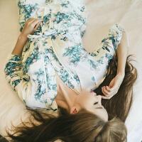 2018新款韩版性感吊带纯棉睡衣女士春秋季长袖甜美气质显瘦家居服三件套装 72019水墨花