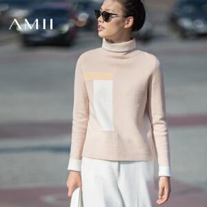 AMII[极简主义]女冬新品几何撞色堆堆领大码直筒毛衣女