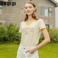 【新品5折价89】Lagogo/拉谷谷2019年夏季新款字母立体绣花T恤女IATT315C02