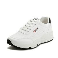 透气运动鞋女春秋皮面清新小白鞋女学生跑步鞋轻便舒适女单鞋 黑白色 偏小半码