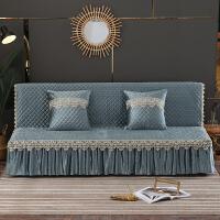 加厚无扶手沙发床套罩 简易折叠沙发垫北欧简约现代 可拆洗沙发巾 灰色 银灰