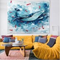 墙上装饰背景布创意鲸鱼ins风北欧墙壁装饰品墙上挂件宿舍家居饰挂毯挂布背景布 蓝鲸鱼 横版 148*200