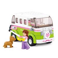 小鲁班拼装积木玩具车女生早教益智智力塑料积木旅行车