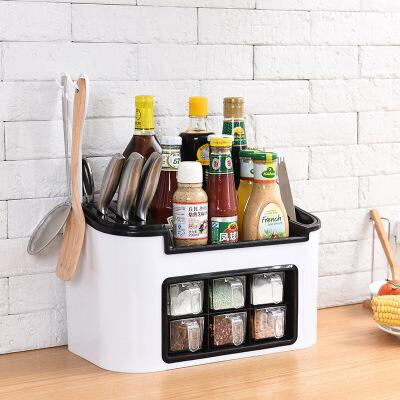 厨房置物架 家居时尚多功能厨房置物架抖音同款调味盒调料罐瓶套装组合刀具收纳架 抖音同款多功能厨房置物架