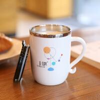 304不锈钢杯子带手柄马克咖啡杯带盖勺办公室喝水杯