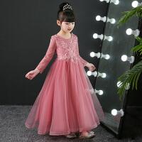 儿童礼服公主裙粉色长袖女童生日婚纱裙花童礼服女模特走秀蓬蓬裙