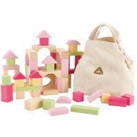 木制100粒粉色堆搭积木玩具粉色diy女孩玩具儿童早教益智积木玩具