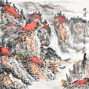 当代画家  周俊青观瀑图gs01265