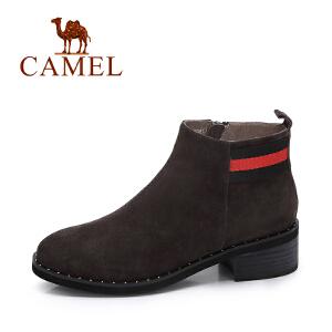 camel/骆驼女鞋 2017冬季新款 英伦风百搭方跟反绒皮女靴子简约中跟短靴