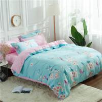 被套床上四件套全棉纯棉斜纹床单180220被罩1.82.2乘2.4