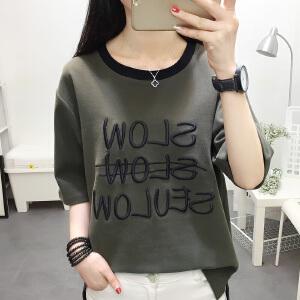 夏季短袖t恤女装宽松韩版学生刺绣半袖上衣服新款