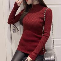 秋冬新款半高领毛衣女修身短款套头打底衫百搭显瘦针织衫长袖韩版 锈红 155/S