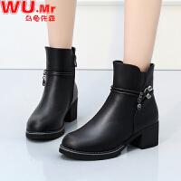乌龟先森 妈妈鞋 女士冬季新款中年女靴棉皮鞋子女式加绒保暖中跟女鞋