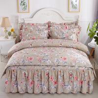 床上用品夹棉双层花边床裙四件套加厚磨毛床罩芦荟棉被套床套 床裙跟枕套夹棉 被套单层的