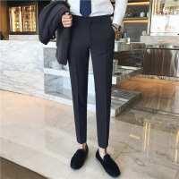 秋冬修身型条纹男士长裤欧美简约时尚都市裤子小脚休闲裤西裤