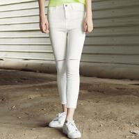 【满299减200】美特斯邦威女牛仔长裤夏装新款女小脚显瘦九分牛仔裤604516