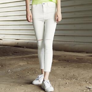 美特斯邦威女牛仔长裤夏装新款女小脚显瘦九分牛仔裤604516