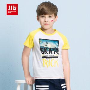 季季乐男童装纯棉短袖T恤8夏季新品12休闲套头圆领16中大儿童衣服BXT71023