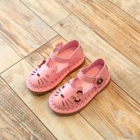 女童凉鞋软底宝宝沙滩鞋2018新款夏季公主皮鞋中小童镂空猫咪凉鞋