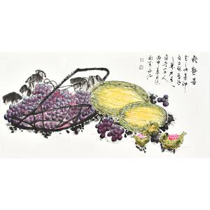 中国工艺美术家协会会员 砚飞《秋熟图》gh04240