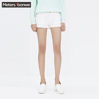 美特斯邦威女牛仔短裤夏装女脚口翻边牛仔短裤254767