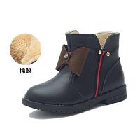 舞玛女童真皮马丁靴2017新款儿童靴子秋冬季女童鞋韩版棉鞋冬靴棉短靴