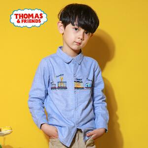 托马斯正版童装男童春装加绒衬衫中大童长袖保暖衬衣上衣