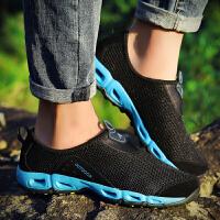 男士运动休闲鞋男鞋春季新款透气网鞋韩版潮流网面跑步鞋子男夏季 黑色 Q128