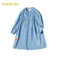 【3件4.5折:117】巴拉巴拉女童连衣裙儿童公主裙春装2021新款童装大童牛仔裙纯棉软