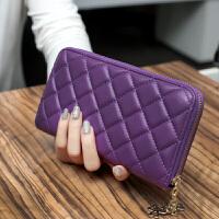 2018新款韩版菱格长款女士钱包拉链大容量手拿包多卡位钱夹手机包
