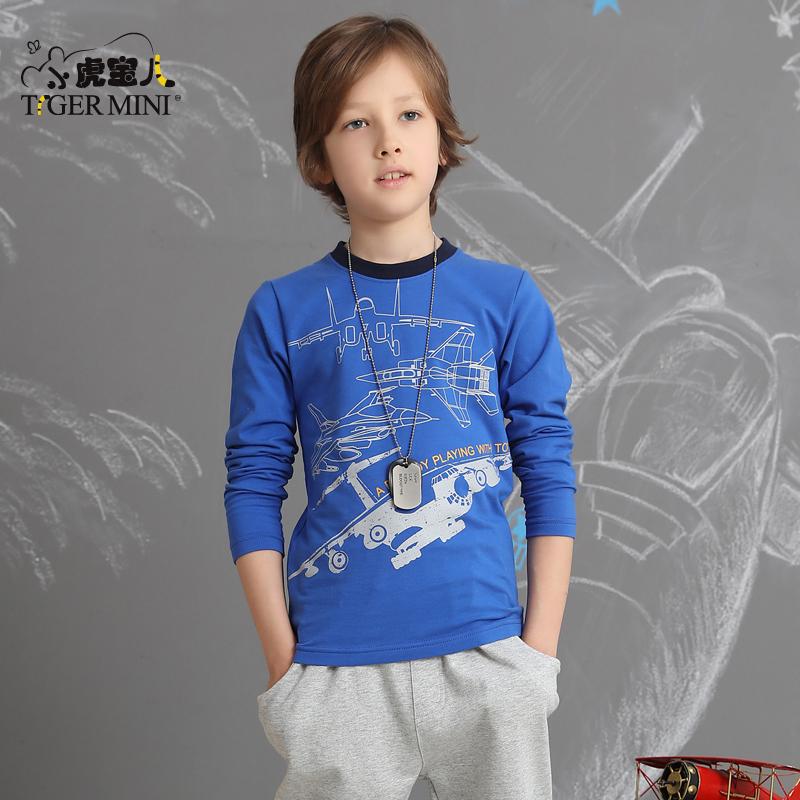 男童T恤长袖棉质 儿童卡通体恤中大童休闲秋装打底衫小虎宝儿童装高弹莱卡棉 军旅风印花 多色可选
