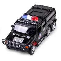 儿童仿真6轮悍马警车合金车模型 特警声光回力玩具汽车