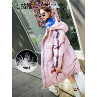 韩版个性白鸭绒羽绒服女中长款2018新款潮欧货时尚冬季粉色面包服