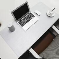 BUBM 游戏键盘鼠标垫防水防油超大加厚电脑办公家用PU皮革桌垫 宝蓝+黄 大号 灰+金属银 中号