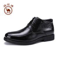 骆驼牌男鞋  冬季商务休闲靴子舒适系带男士皮靴