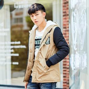 【2件3折价133.8元】唐狮冬装新款棉衣男连帽袖子拼接保暖加厚韩版中长款棉衣外套
