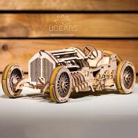 木质机械传动模型复古老爷车跑车高难度拼装玩具赛车