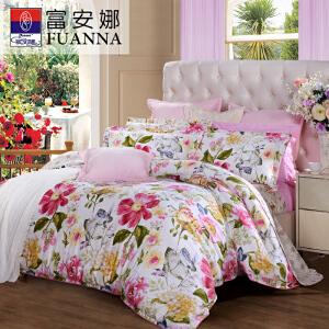 [当当自营]富安娜家纺 床上用品纯棉四件套全棉床单被套 左岸花开新品1.8米床(6英尺)