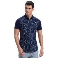才子男装(TRIES)短袖衬衫 男士2017年新款时尚线条简约百搭短袖休闲衬衫 两色可选