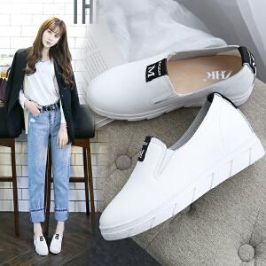 ZHR2017春季新款真皮平底乐福鞋韩版厚底单鞋休闲鞋内增高女鞋X33