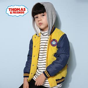 【每满100减50】托马斯正版童装男童冬装时尚撞色加厚连帽外套棉袄