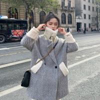 2019春装新款羊羔毛毛领双排扣毛呢大衣女加厚保暖中长款毛呢外套