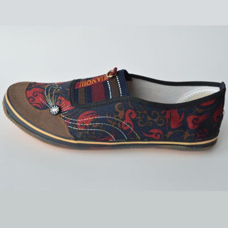 新款老北京女鞋 中老年妈妈帆布鞋 橡胶底防滑平底防臭鞋民族风元素老太太平跟劳务干活女鞋