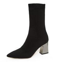 2019冬季新款瘦瘦靴弹力靴女中筒针织袜子靴粗跟性感高跟百搭短靴 黑色 中筒靴 34 偏大一码