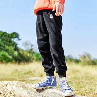 【2件7折到手价:117】小猪班纳童装女童裤子中大童黑色休闲裤2021春季新款束脚运动裤