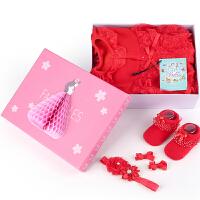 Yinbeler五件套新儿衣服套装女宝宝蕾丝棉衣棉袄加厚保暖外出婴儿衣服秋冬加绒立体礼盒
