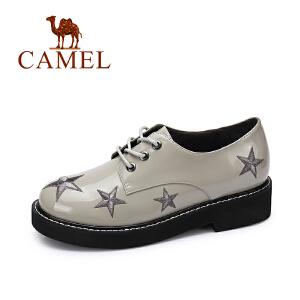 camel/骆驼女鞋  秋季新款 个性刺绣星饰系带光面英伦系带浅口单鞋潮