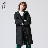 初语2017冬装新款长袖中长款羽绒服外套女黑色加厚保暖面包服过膝